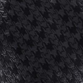 Tissu jacquard brodé aspect matelassé Pied de poule - marine x 10cm