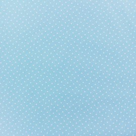 Coated cotton fabric Poppy Mini Pois - white/light blue x 10cm