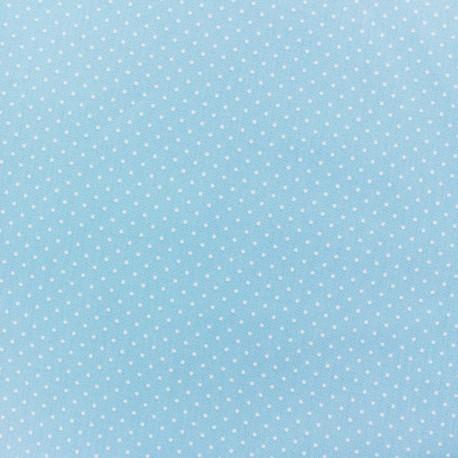 Tissu enduit coton Poppy Mini Pois - blanc/bleu clair x 10cm