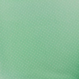 Tissu enduit coton Poppy Mini Pois - blanc/vert jade x 10cm