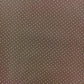 ♥ Coupon 20 cm X 145 cm ♥ Coated cotton fabric Poppy Mini Pois - white/dark beige
