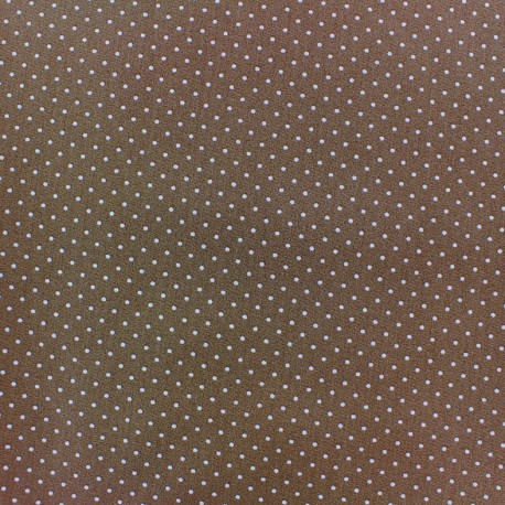 Coated cotton fabric Poppy Mini Pois - white/dark beige x 10cm