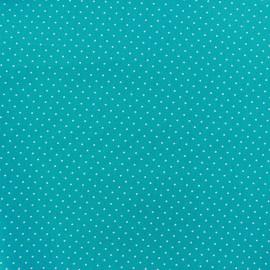 Tissu enduit coton Poppy Mini Pois - blanc/bleu azur x 10cm