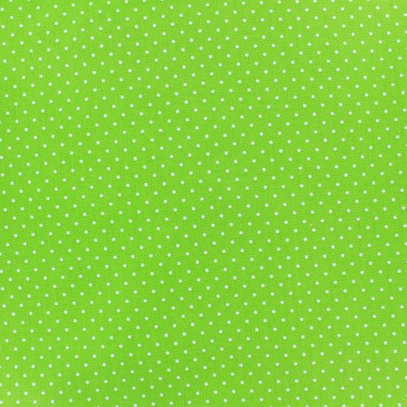 Tissu enduit coton Poppy Mini Pois - blanc/vert clair x 10cm