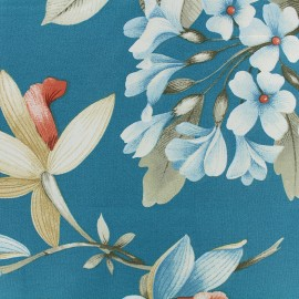 Tissu percale grande largeur (280cm) Elegance - bleu/rouge x 39cm
