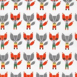 Cotton fabric   Suzy's Minis renard -white x14cm