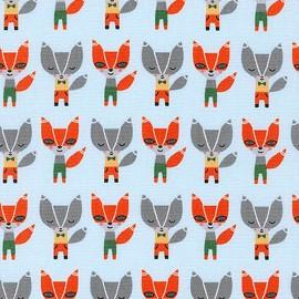 Cotton fabric   Suzy's Minis renard - sky x14cm