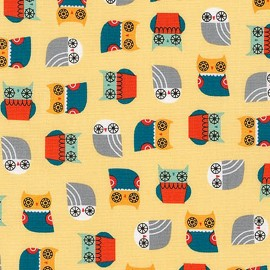 Cotton fabric  Suzy's Minis Birds Owl - yellow x 10cm