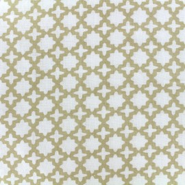 Tissu double gaze de coton Little Prints  Zellige - natural x 10 cm
