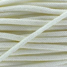 Lurex  Woolen braided Cord  - white x 1m