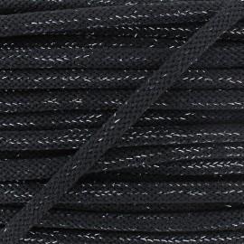 Cordon lainage tressé Lurex - noir x 1m