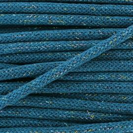 Cordon lainage tressé Lurex - bleu x 1m