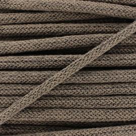 Lurex Woolen braided Cord  - brown x 1m