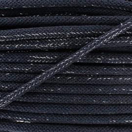Cordon lainage tressé Lurex - marine x 1m