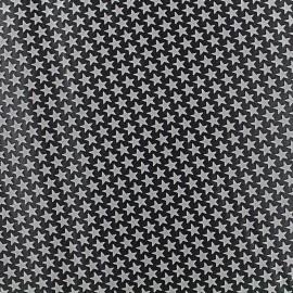 ♥ Coupon de tissu 42 cm X 42 cm ♥ Tissu satin impression gomme Stars (laize : 42 cm) - gris/noir