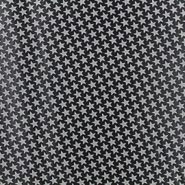 Printed rubber on satin Fabric Stars (laize : 42 cm) - grey/black x 10cm