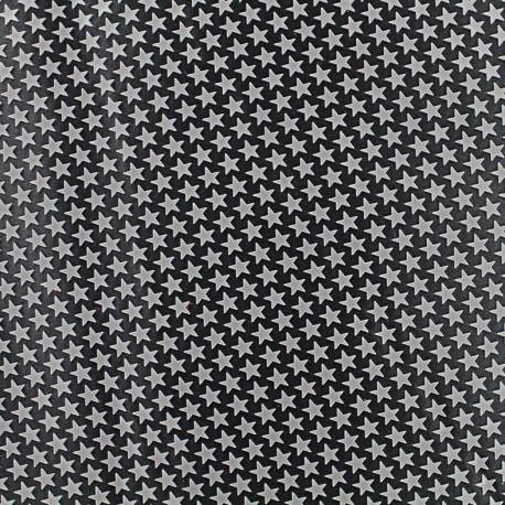 Printed rubber on satin Fabric Stars (laize : 42 cm) - grey/black x 10cm