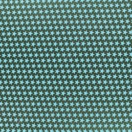♥ Coupon de tissu 42 cm X 42 cm ♥ Tissu satin impression gomme Stars (laize : 42 cm) - vert d'eau/vert