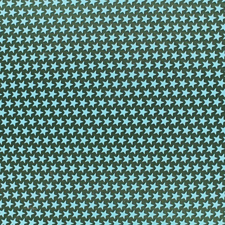 Printed rubber on satin Fabric Stars (laize : 42 cm) - seagreen/green x 10cm