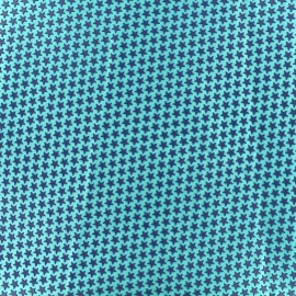 Printed rubber on satin Fabric Stars (laize : 42 cm) - blue/seagreen x 10cm