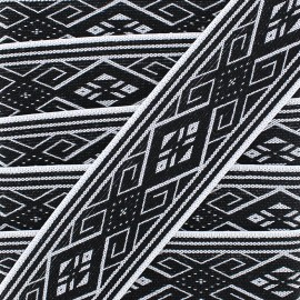Ruban Galon Jacquard Elastique Ethnic Black/White 50 mm -  x 1m