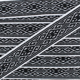 Ruban Galon Jacquard Elastique Ethnic Black/White 25 mm -  x 1m