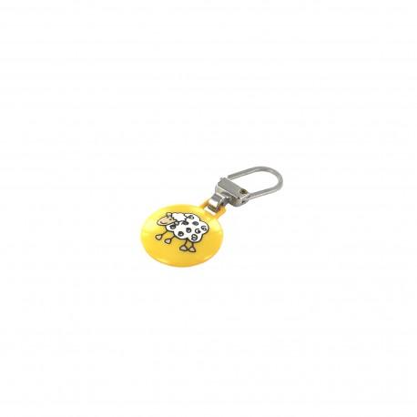 Zipper pull Sheep - yellow