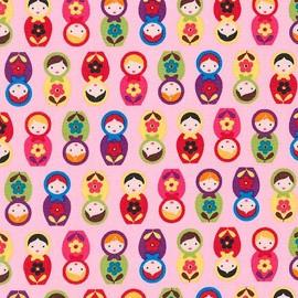 Tissu coton Suzy's Minis Matriochka -pink x12cm