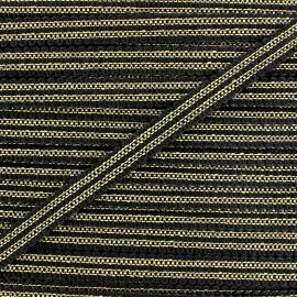 Ruban Galon ornement 13 mm -  noir/doré x 1m