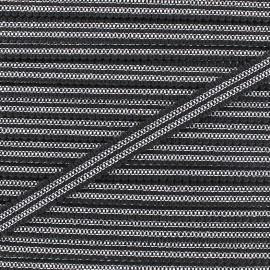Ruban Galon ornement 13 mm -  noir/argent x 1m