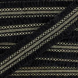 Ruban Galon Franges ornement 13 mm -  noir/doré x 1m