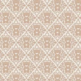 Tissu Teddy Damasc Marron x 10 cm