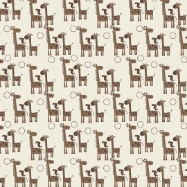 Tissu GIRAFFE CROSSING 2 Giraffes Brown x 10 cm