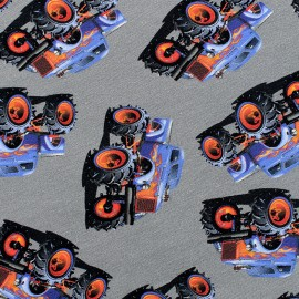 Tissu Jersey Monster truck - gris x 10 cm