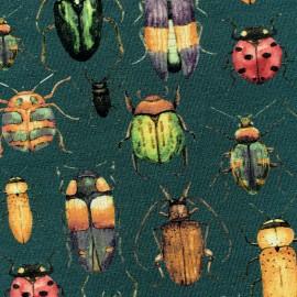 Tissu Jersey Poppy Insectes - vert sapin x 10 cm