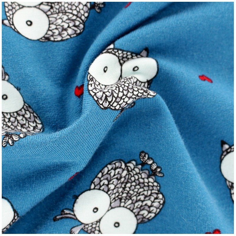 tissu oeko tex sweat l ger poppy owlicious bleu canard x 10cm ma petite mercerie. Black Bedroom Furniture Sets. Home Design Ideas