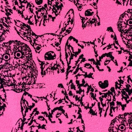 Poppy jersey fabric Forest Animals - pink x 10cm