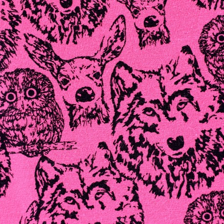 Poppy jersey fabric Forest Animals - pink x 10cm