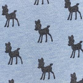 ♥ Only one piece 170 cm X 140 cm ♥ Poppy Sweat fabric Bambi Glitter - light blue x 10cm