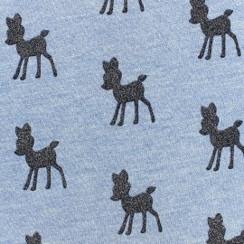 Poppy Sweat fabric Bambi Glitter - light blue x 10cm