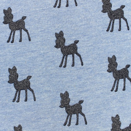 Poppy jersey fabric Bambi Glitter - ecru x 10cm