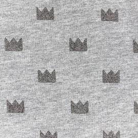 Tissu jogging Courronne Glitter - gris x 10cm