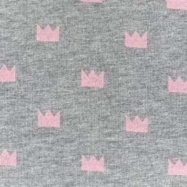Tissu jogging Courronne Glitter - rose x 10cm