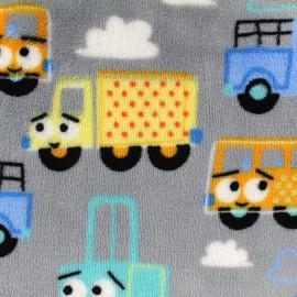 Tissu Doudou Cars - gris x 10cm