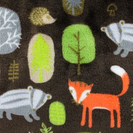 Tissu Doudou Forest - marron x 10cm