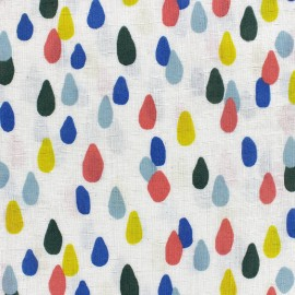 Tissu double gaze de coton Water drop - ecru x 10 cm