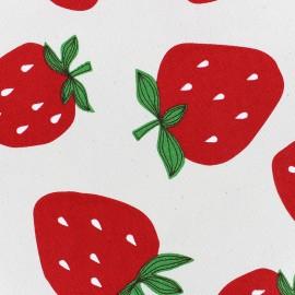 Tissu toile de coton Strawberries - écru x 10cm