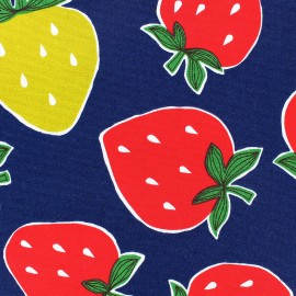 Cotton canvas fabric Strawberries - navy x 10cm