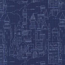 Tissu Castle plans - navy x 40cm