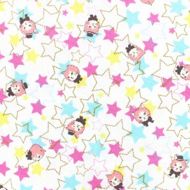 Kokka Echino cotton canvas fabric Trèfle Kitty Stars - white x 10cm